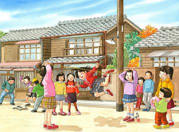 秋の爽やかな日に路地に輪ゴムをつないでみんなでゴム跳び。男子はメンコで遊びます。