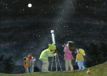 冬の星座を天体望遠鏡で天体観測します。凍るように透き通った満天の星空はいつまでも眺めていたいけど寒くて手がかじかんできます。