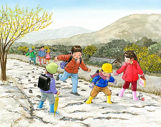 昔懐かしい昭和レトロイラスト 冬の風景 霜柱 故郷のイラスト 童画カレンダー たけなかアトリエ
