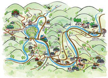 和歌山県有田川町の観光イラストマップを墨絵で描きました