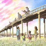大井川に架かる世界一長い木造の橋、蓬莱橋