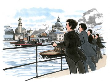長州ファイブがロンドンへ到着したシーン。山口県萩市の「明倫学舎」の施設展示電照パネルのイラスト