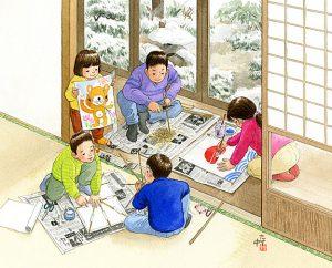 竹を細く削って障子紙を貼り付け、絵を描いて新聞紙の尾をつけたら凧の出来上がり。