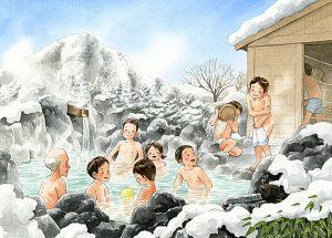 雪が積もるなか入る露天風呂は気持ちいいけど服を脱ぎで入るまでが寒くて凍えそう。