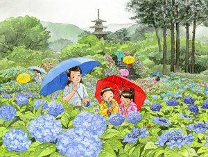 紫陽花寺にはいろんな種類の紫陽花が咲いていて、雨の日だったので三重の塔の手前には傘の花もたくさん。