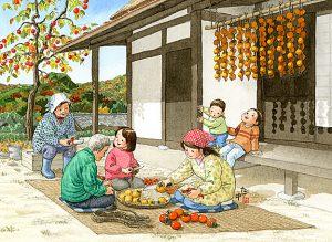 渋柿を採ってきて皮をむいたらおじいさんが綯った縄に挟んで干し柿を軒に吊るします。