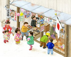 もらったお年玉で普段は買えないおもちゃやお菓子を買いに駄菓子屋へ。鈴カステラやピストルを買いました。