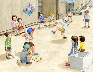 路地で三角ベース野球をしました。バットは削った材木です。