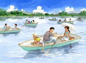 湖のボートに乗ってお父さんがオールを漕いでくれました。