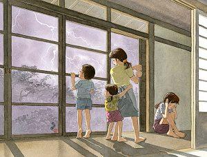 大きな雷鳴と稲光りは怖いけど見ていると綺麗でワクワクします。