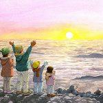 初日の出を拝むため山に登ると雲海の向こうからご来光が輝いて差し込んできました。