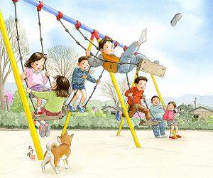 ブランコを立ち漕ぎして靴を飛ばして遊んだ。柴犬のチビも一緒に遊びたがっていた。