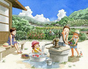 トマトにきゅうり、ナスにピーマン、トウモロコシ。井戸水で採れたばかりの夏野菜を洗いました。