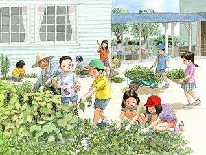 夏休みの間に伸びていた校庭の雑草を抜いて綺麗にしました。ヨウシュヤマゴボウの汁がついたら取れません。