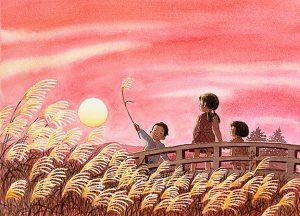 夕焼けの茜空にススキの穂をかざすと金色の旗のように輝いて風に揺れてた。