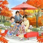 紅葉の美しいなかで七五三のお祝い。頂いた千歳飴を待ちきれずに食べました。