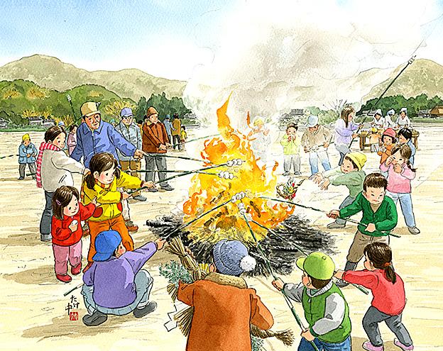 しめ飾りを焚き上げるどんど焼きでお餅を焼いて食べると無病息災です。