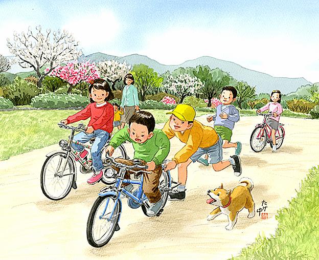 お兄ちゃんに荷台を持ってもらって自転車の練習。梅や辛夷、木蓮が咲いていた。