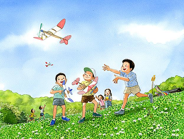青空にプロペラのゴムをいっぱいに巻いた模型飛行機を飛ばすと、うす紙を張った翼が風に乗って飛んで行った。