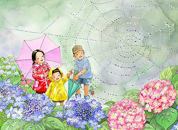 雨が上がると蜘蛛の巣に綺麗な水滴がついて紫陽花の色を映してた。