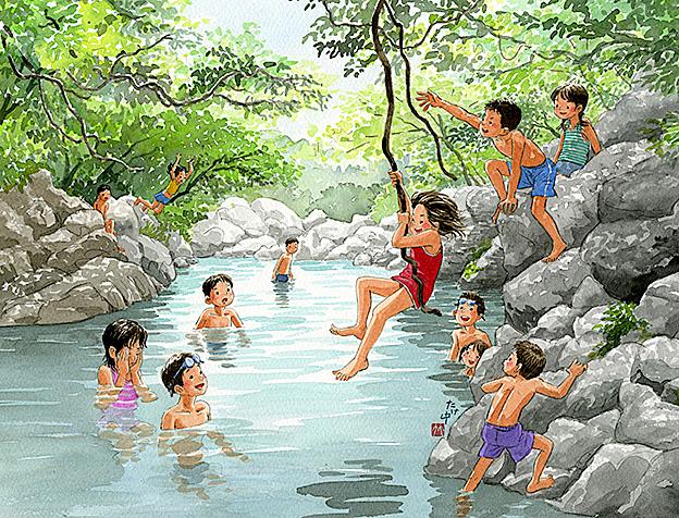 川の淵のところで蔦につかまってターザンごっこ。川で泳ぐと冷たくて気持ちいい。