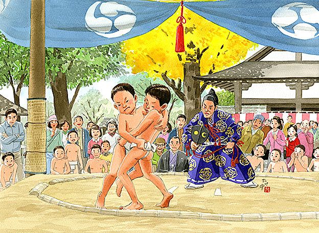 神社の秋祭りで奉納の相撲大会。力が入る大将戦ではうっちゃりで逆転勝ち。