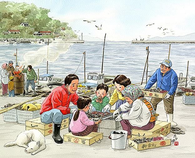 浜辺で炭火を起こして牡蠣やホタテやヒオウギガイ、アワビやサザエを焼いて食べました。