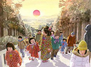 初詣に神社の階段を上ると後ろからご来光が光の道のようにまっすぐ昇ってきます。