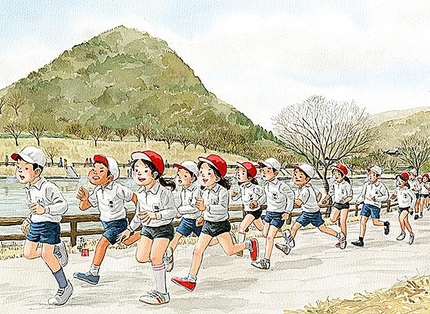 マラソン大会で校区の池の周りを競争。スッス、ハッハと白い息を吐きながら気分は金栗四三さん。いだてんのつもり。