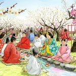 新元号「令和」。梅の花が香るなかで、杯が流れてく流前に和歌を詠む曲水の宴。