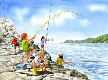 海岸の岩場で磯釣りしたら、たくさん魚が釣れました。