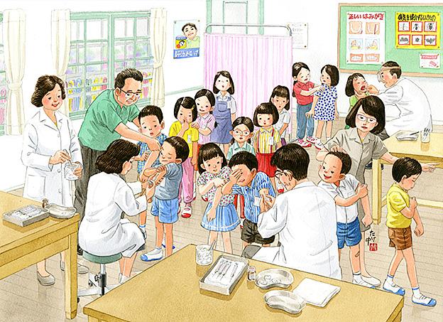 集団予防接種での注射。日本脳炎の注射はとても痛い。