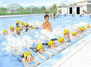 学校のプール授業の最初はバタ足の練習。早くクロールや平泳ぎしてみたい。