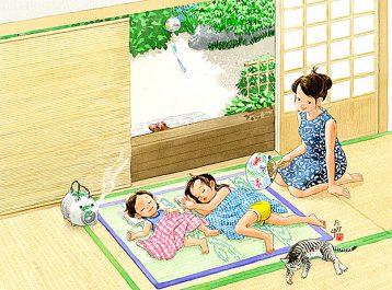 風鈴の涼しい音とうちわの風で夏のお昼寝