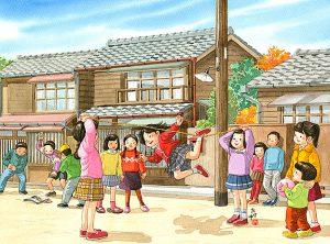 路地で女子はゴム跳び遊び、男子はメンコ(ぱっちん)