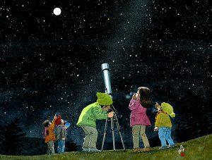 冬の空に望遠鏡を向けて天体観測。オリオン、シリウス、すばる、凍るような月
