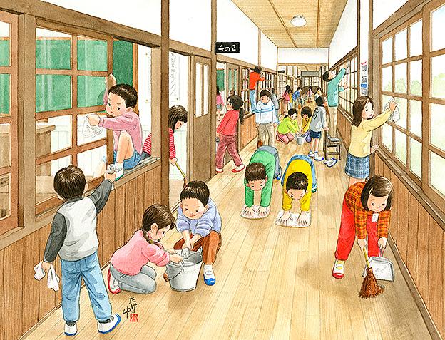 小学校の木造校舎を掃除。窓によじ登ってガラスを拭いたり廊下を雑巾がけで競争したりみんなで協力してピカピカにしました。