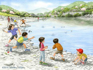 水辺で平たい石を探して水面に向かって石切遊び