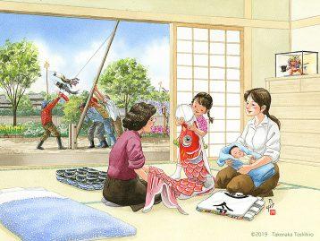 生まれた赤ちゃんは男の子だったので鯉のぼりを立てた。令和元年の誕生がおめでたい。