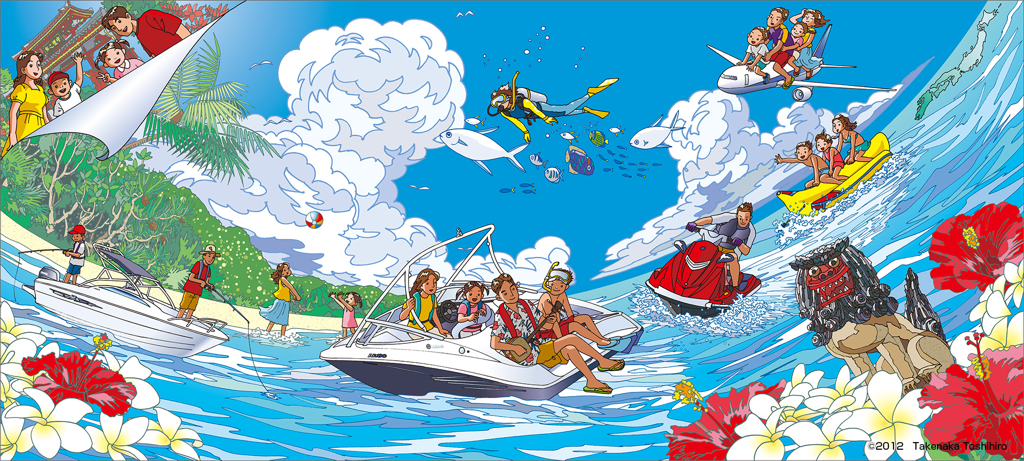 沖縄でのYAMAHAレジャーボート展示会用のイラストをPCで着彩して作成。