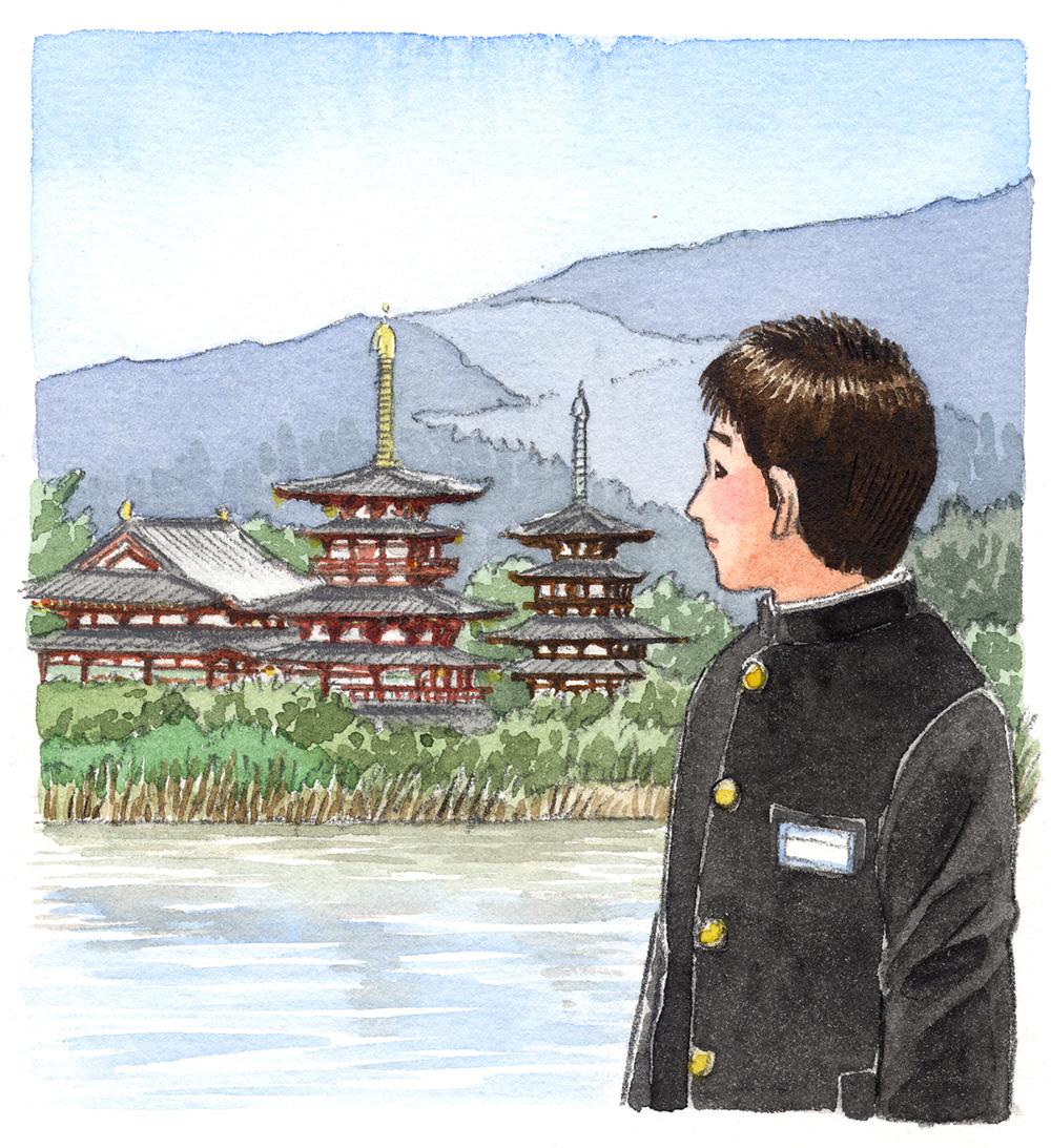 中学校の道徳の教科書に掲載された挿絵。