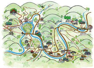棚田で有名な和歌山県有田川町のイラストマップを墨絵で描きました。