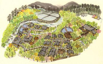 湯布院の郊外の山に囲まれた温泉宿『月燈庵』の施設マップ