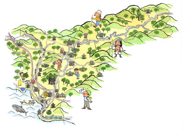 和歌山県印南町のイラストマップを墨絵で描きました。