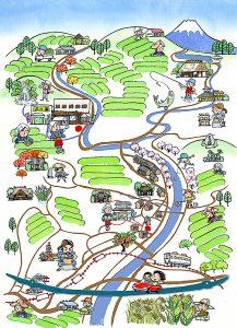 遠州森の石松で有名な静岡県周智郡森町はお茶どころです。イラストマップを描きました。