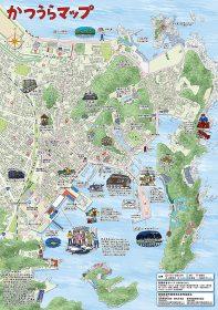 和歌山県、那智勝浦町のイラストマップ。観光用の大判マップです。