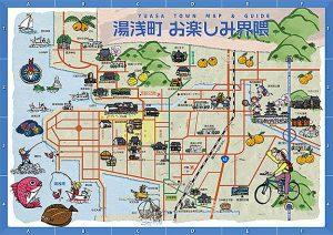 醤油の発祥で知られる和歌山県湯浅町の周囲も含んだ広域イラストマップです。