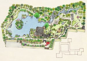 福岡市城南区の庭園「友泉亭」の施設マップを墨絵で描きました。