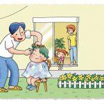 子育て優先住宅「小川の家」庭で子どもの散髪と見守る家族のイメージイラスト