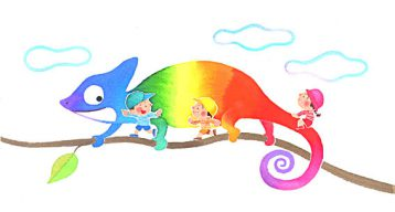 歯科医院のカレンダーハガキ・虹色に色を変えるカメレオンに合わせた服の子